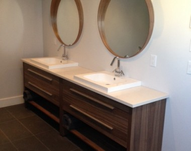 VANITIES RELAX V48 WALNUT WITH TWO RELAX S60 COUNTERTOP.
