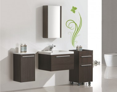 Ens. vanity RELAX V60 Alamo oak with mirror RELAX M45, a the side cabinet RELAX C40 and a side cabinet RELAX C35.